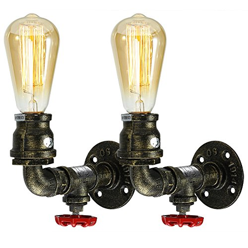 Fuloon Metal Loft Pipe Wall Light Lamp Retro Industrial Cafe Bar Wall Sconce (Bronze-2 sets) (Light Pipe)