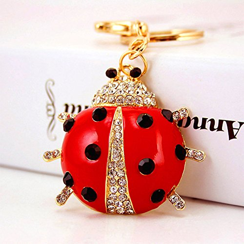 Jzcky Shzrp Lovely Ladybug Shape Crystal Rhinestone Keychain Key Chain Sparkling Key Ring Charm Purse Pendant Handbag Bag Decoration Holiday Gift