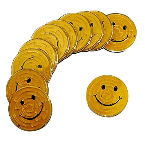 Smiley face Mini Pinball Maze Game - 12 Pack Classic Pinball Maze Games - Play Set Includes 12 Smiley Face Gravity Boards