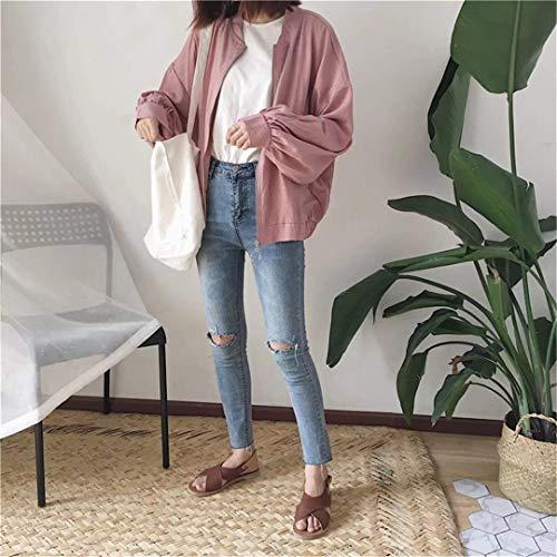 Eleganti Baggy Marca Donna Primaverile Coreana Outerwear Giacca Cerniera Rose Di Autunno Mode Collo Lunga Con Cappotto Casuali Bomber Coat Bolawoo Solidi Manica Colori XvPpxwq