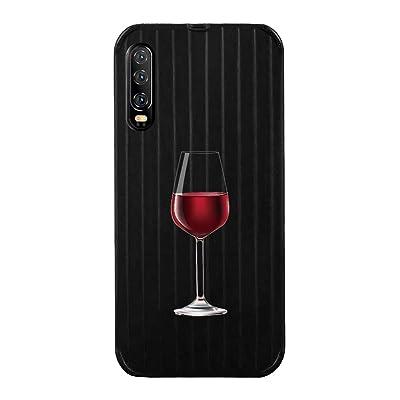 Caler Funda con Cristal Templado Compatible con Huawei Honor 20 Pro Carcasa Cáscara 3D Tridimensional Raya Lindo Dibujo Animado Negro PC Back Suave TPU Silicona Bumper Antigolpes Caso(Copa de Vino): Electrónica