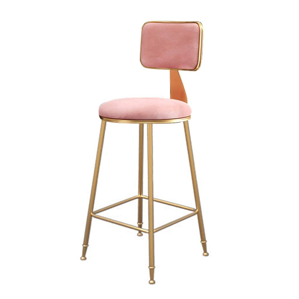 Height 65cm Barstools Upholstered Footrest with Backrest Sponge Seat Dining Chairs for Kitchen Restaurant Pub   Café Bar Counter Stool Max. Load 200kg gold Metal Legs in Pink