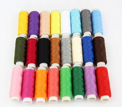 (RayLineDo 24 Colour Spools Sewing All Purpose 100% Pure Cotton Thread Reel )
