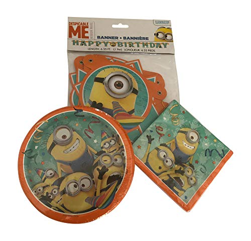 Ultimate Minions Birthday Party Dinnerware for 16 Guests with Dessert Plates -