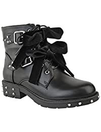 Fashion Thirsty Womens Studded Lace Up Ankle Boots Buckle Biker Goth Flat Size