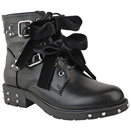 Fashion Thirsty Womens Studded Lace Up Ankle Boots Buckle Biker Goth Flat Size 8 (Biker Boots Studded)