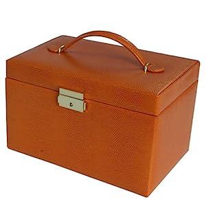 Paylak TS382OGE Orange Leather Large Lock Jewelry Box with Travel Case Tech Swiss