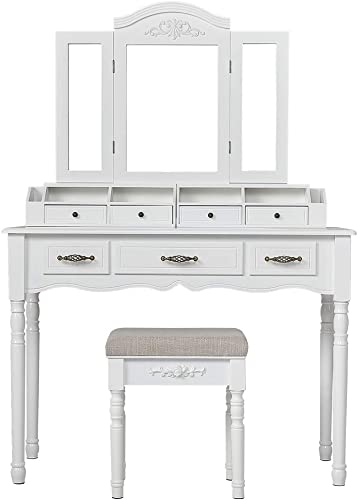 Vanity Makeup Set Bedroom Vanity Table Dressing Table with 7 Drawers, 2 Brush Slots, Open Compartments and Tri-Fold Necklace Hooked Mirror, Cushioned Stool for Women Toddler Girls, White White