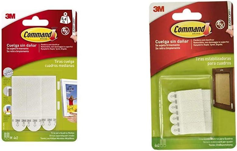 color blanco Command 17201 color blanco Set de 8 Piezas Pack de 8 tiras para cuadros tama/ño micro 17208 Pack de 8 tiras para estabilizar marcos