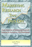 Marketing Research That Pays Off : Case Histories of Marketing Research Leading to Success in the Marketplace, William Winston, Larry Percy, 1560249498