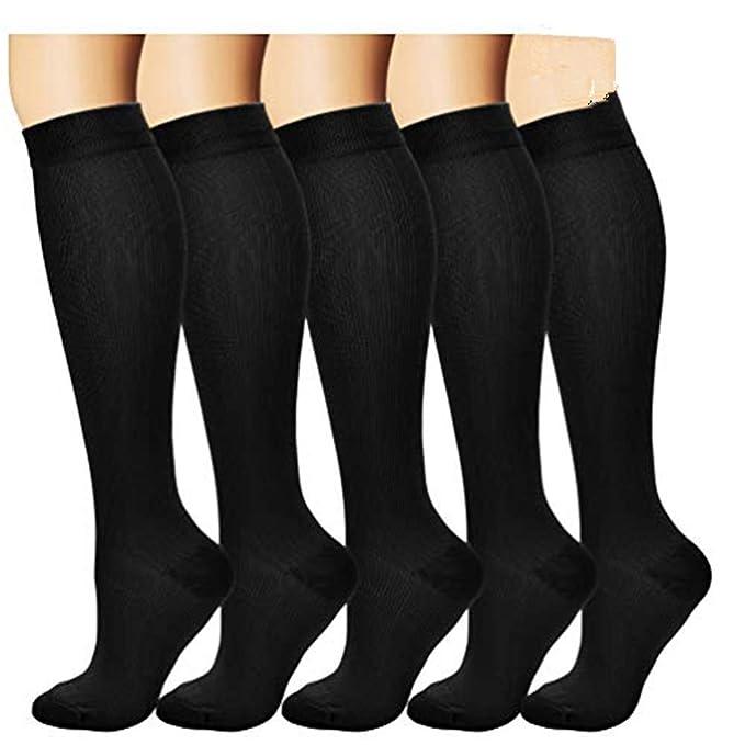5 Paar Kompressions Socken Sport Lauf Socken Kompressions Strümpfe Damen Herren