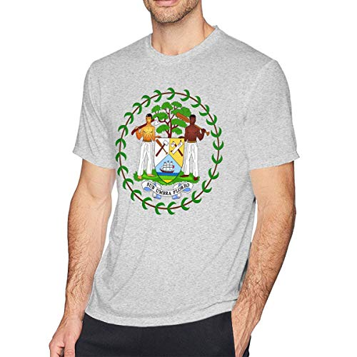 - Men's Coat of Arms of Belize National Emblem Short-Sleeve Cotton T-Shirts Blouse Tee Top Gray