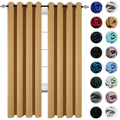 (KEQIAOSUOCAI Yellow Blackout Curtains Grommet Top Drapes for Bedroom 95 inches Long Light Reducing Window Curtain Panels for Living Room, 2 Panels, Ochre)