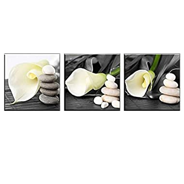 NUOLAN Canvas Wall Art -Stretched and Framed Giclee Canvas Prints White Lily Flowers Art Prints for Wall Decor Art-P3L3030-009