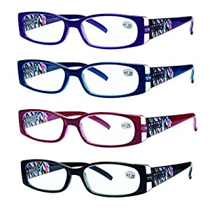READING GLASSES 4 Pack Quality Readers Spring Hinge Stylish Designed Womens Glasses for Reading 4 Colors +1.5
