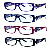 READING GLASSES 4 Pack Quality Spring Hinge Stylish Designed Womens Glasses for Reading 4 Colors