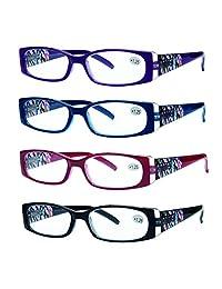 Pack de 4 anteojos de lectura para mujer, diseño elegante y de calidad