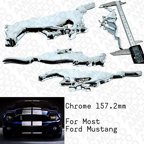 MUSTANG CHROME Emblem Badge Stickers Decals with Strong 3M Includes instructions MEASURE Before Purchase Fitment Top Quality fit For MUSTANG CHROME pack of 1 AMD
