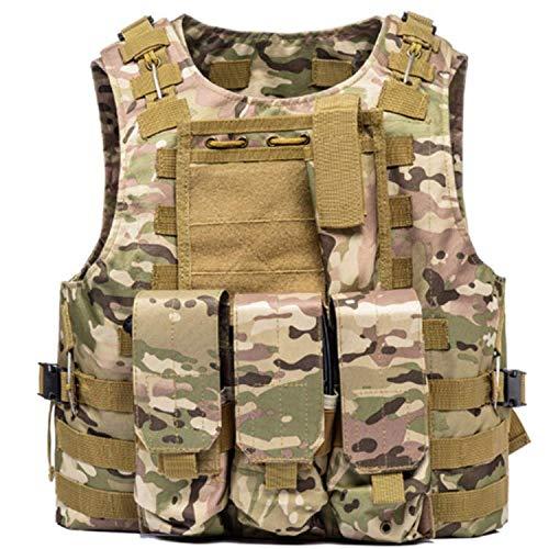Vest Multi Camo - Leons tactic MOLLE Vest - Tactical Vest for Airsoft, Paintball - Tactical Military Vest with Multicam Pattern - Adjustable Lightweight Combat Vest - Military Camo Chest Rig