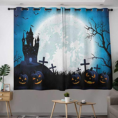 Thermal Insulated Blackout Curtains Halloween Spooky Concept with Scary Icons Old Celtic Harvest Figures in Dark Image Holiday Print Insulated with Grommet Curtains for Bedroom W 63