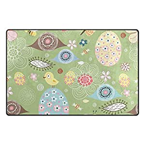 U LIFE Cute Floral Flowers Bird Eggs Spring Easter Large Doormats Area Mats Runner Floor Mat Cover Carpet for Entrance Way Living Room Bedroom Kitchen Office 36 x 24 Inch