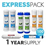 Express Water – 1 Year Reverse Osmosis System Replacement Filter Set – 8 Filters with 100 GPD RO Membrane, Carbon (GAC, ACB, PAC) Filters, Sediment (SED) Filters – 10 inch Size Water Filters