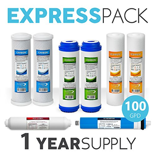 Express Water – 1 Year Reverse Osmosis System Replacement Filter Set – 8 Filters with 100 GPD RO Membrane, Carbon (GAC, ACB, PAC) Filters, Sediment (SED) Filters – 10 inch Size Water Filters by Express Water