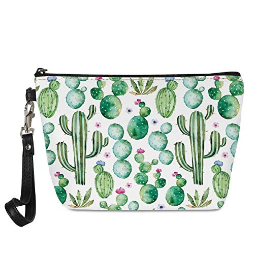 Mumeson Women Travel Toiletry Pouch Hipster Cactus Cacti Pattern Wristlet Makeup Bag Waterproof Clutch Cosmetic Bag (Color: Cactus, Tamaño: One Size)