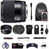 Focus Camera Sigma 30mm f/1.4 DC DN Lens for Sony E-Mount w/Backpack & Monopod Bundle