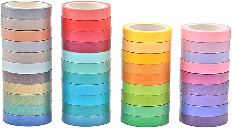 SUPVOX 10 rollos de cinta de papel arco iris washi tape color caramelo papel adhesivo enmascarado cinta adhesiva scrapbooking accesorio