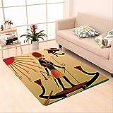 Nalahome Custom carpet Illustration of Ancient God Sun Ra Old Egyptian Faith Grace Icons Traditional Pagan Print Multi area rugs for Living Dining Room Bedroom Hallway Office Carpet (5' X 8')