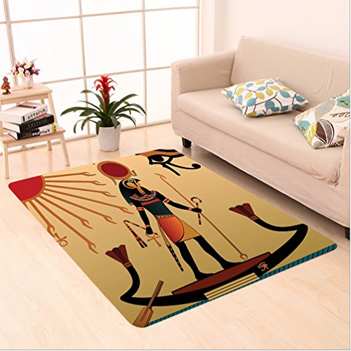 Nalahome Custom carpet Illustration of Ancient God Sun Ra Old Egyptian Faith Grace Icons Traditional Pagan Print Multi area rugs for Living Dining Room Bedroom Hallway Office Carpet (5' X 8') by Nalahome