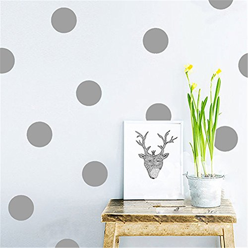 (dds5391 Polka Dots Baby Nursery Children Wall Decals Home Decor DIY Kids Vinyl Wall Sticker - Grey M)