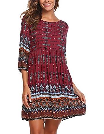 7cbfbe3e1b75 SE MIU Women Christmas Bohemian Ethnic Print Long Sleeve Top Tunic Dress