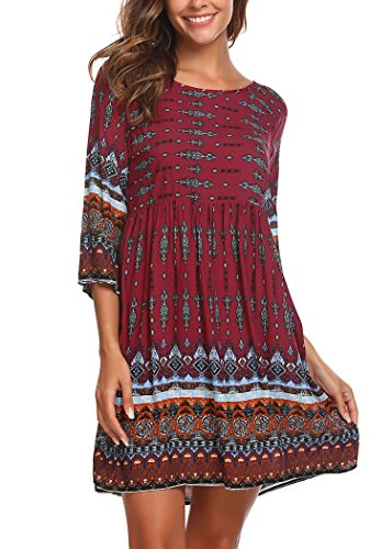 SE MIU Women Long Sleeve Print Bohemian Mini Cocktail Dress, Dark Red, S