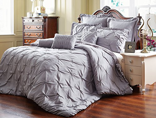 Unique Home 8 Piece Reversible Pinch Pleat Comforter Set Fade Resistant, Wrinkle Free, No Ironing Necessary, Super Soft, King, (King Bedding)