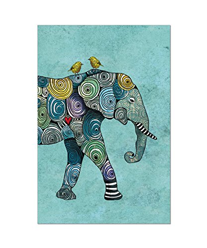 - Tree-Free Greetings EcoNotes 12-Count Elephant and Birds Blank Notecard Set With Envelopes, All Occasion, For Animal Lovers, Blue (FS56871)