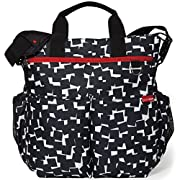 Skip Hop Duo Signature Carry All Travel Diaper Bag Tote with Multipockets, One Size, Black White Cubes