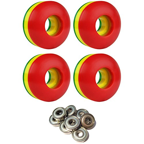 Skateboard Wheels 102A 50mm Rasta Tri-Color with ABEC 7 Bearings 50 Mm Skateboard Wheels