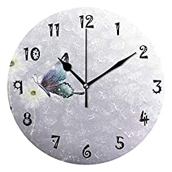 Baofu Modern Wall Clock Round Rainbow Butterfly Flower Silent Non Ticking Battery Vintage Operated Accurate Decorative for Kitchen Living Room Bedroom Office(10 Inch)