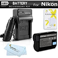 Battery And Charger Kit For Nikon D7200, D750, D7100, D7000, D600, D800, D800E, D600 D610 D810 DSLR and Nikon 1 V1 Digital Camera Includes Replacement EN-EL15 Battery (FULLY DECODED!) + Charger + More