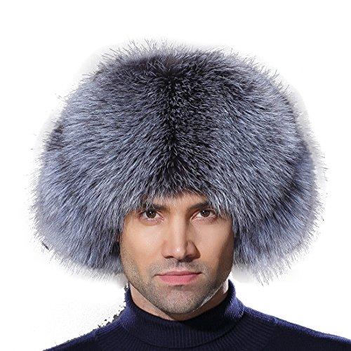 URSFUR Winter Mens Trapper Hat Real Leather Silver Fox Fur Russian Ushanka Cap by URSFUR