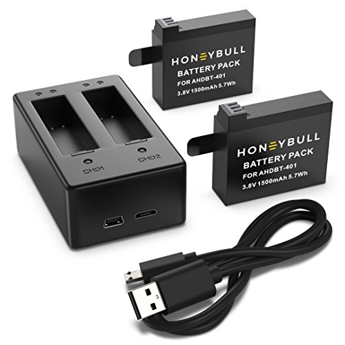 HoneyBull GoPro Hero 4 Battery | GoPro Hero 4 Battery Charger (1500mAh) 2 Pack with Dual Battery Charger for The GoPro HERO4 Black & HERO4 Silver (Model: AHDBT-401) [Lifetime Warranty] by HoneyBull