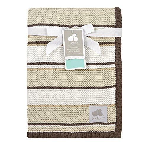 Just Born Knit (Just Born Sweater Knit Blanket, Brown/Tan/White Stripes)
