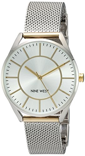 Nine West Women's NW/1923SVTT Two-Tone Mesh Bracelet Watch (Watch Silver Mesh Tone)
