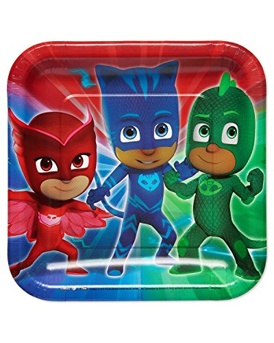 New American Greetings Boys PJ Masks Dinner Square Plate(8 Count) for sale