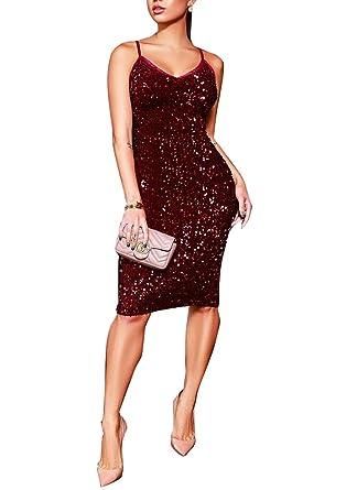 8214ac0041 Amazon.com  Womens Sequin Spark Dresses for Party Club Evening ...