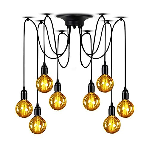(Lampundit Industrial Spider Lamps 8-Light Pendant, Multiple Ajustable DIY Ceiling Spider Light E26 Rustic Chandelier Black Hanging Light Dining Hall Kitchen Bedroom (Each with 70.8