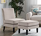 Elle Decor UPH10020B Décor Olivia Chair and Ottoman, Accent, Taupe