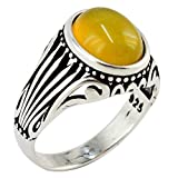 Natural Yellow Agate Stone 925 Sterling Silver Turkish Handmade Ottoman Men's Awesome Ring